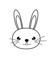 Line cute rabbit male head animal vector