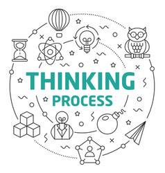 line flat circle thinking process vector image