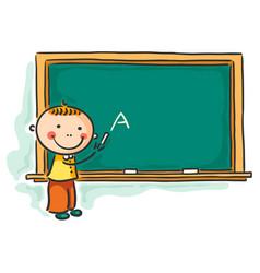 little boy at the blackboard vector image