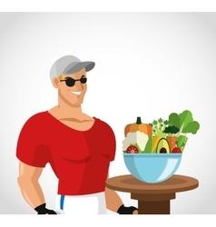 Man cartoon and healthy lifestyle design vector