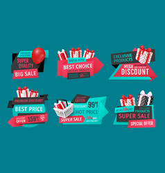 Mega discount exclusive product sale banners set vector
