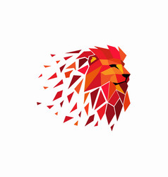 multi-colored lion head logo design template vector image