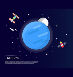 Neptune and pluto of solar system i design vector