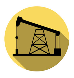 oil drilling rig sign flat black icon vector image