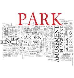 Park word cloud concept vector