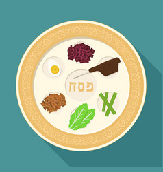 Passover holiday seder plate flat long shadow vector
