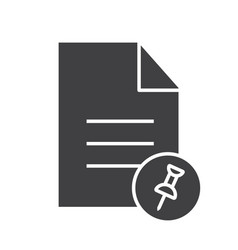 pin document glyph icon vector image