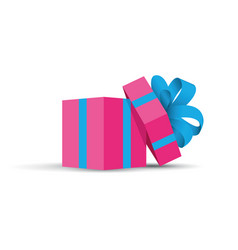 Pink opened present vector
