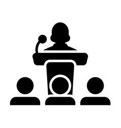 public speaking icon female person on podium vector image