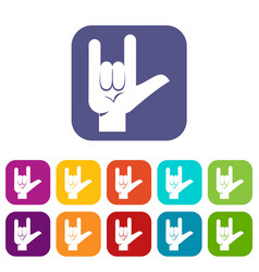 Rock gesture icons set flat vector
