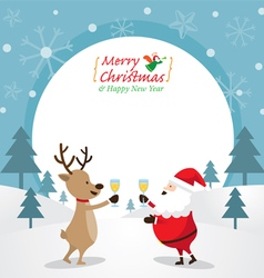 Santa Claus and Reindeer Drinking Champagne Frame vector image