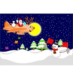 Santa with reindeer plane vector