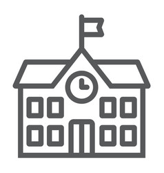 School building line icon school and education vector