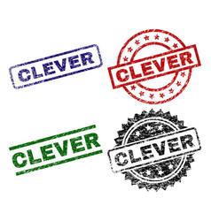 Scratched textured clever stamp seals vector