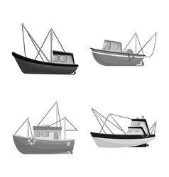 Sea and speedboat icon set vector