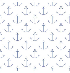 Seamless maritime pattern with anchor line style vector