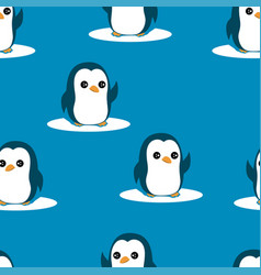 seamless pattern penguin isolated penguin vector image
