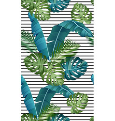 seamless pattern with tropical leaves palms vector image