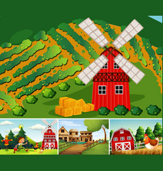 set different farm scenes cartoon style vector image