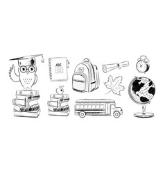 set education items doodles vector image