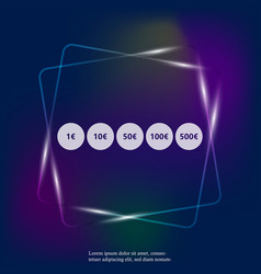 Set money labels usa symbol euro neon light vector