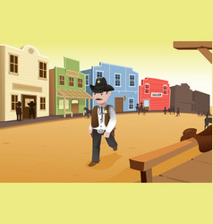 sheriff walking on an old western town vector image