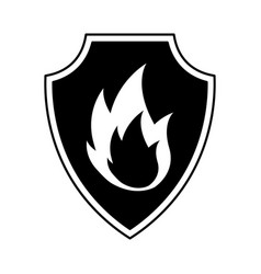 shield insurance with fire isolated icon vector image