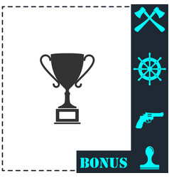 sports cup icon flat vector image