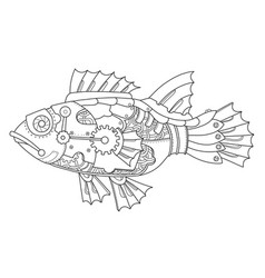 Steampunk style fish coloring book vector