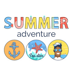 summer adventure promo banner with marine elements vector image