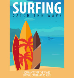 Surfing banner and poster surfboards on a beach vector