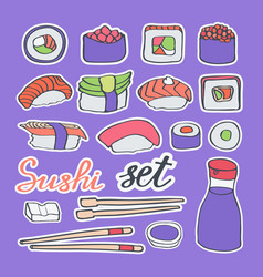 sushi doodle icons set vector image