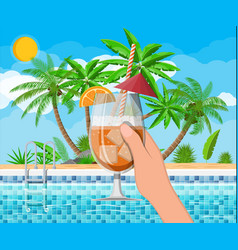 Swimming pool and cocktail palm tree vector