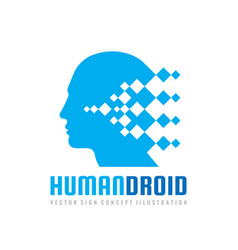 techno human droid head logo concept vector image
