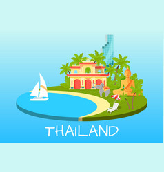 thailand touristic concept with national symbols vector image