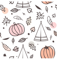 Thanksgiving day seamless pattern with indian vector