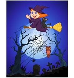 The witch flying on a broom on a full moon over th vector