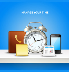 time management realistic composition vector image
