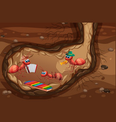 Underground scene with ants playing instrument vector