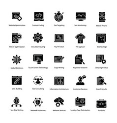 web and seo glyph icons set vector image