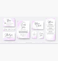 Wedding invite thank you rsvp menu card design vector