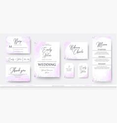 wedding invite thank you rsvp menu card design vector image