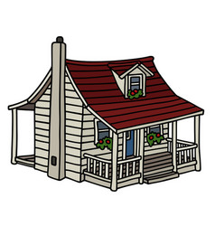 White planked house vector