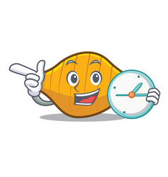 With clock conchiglie pasta character cartoon vector