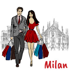 woman and man in milan vector image