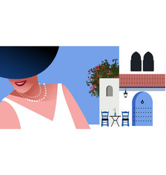 woman with blue hat and pearls necklace on vector image