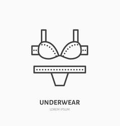Women underwear flat line icon bra and underpants vector