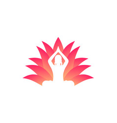 yoga logo meditating girl and lotus flower vector image