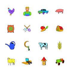 agriculture icons set cartoon vector image