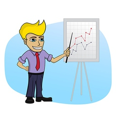 Business man with a chart - cartoon vector image